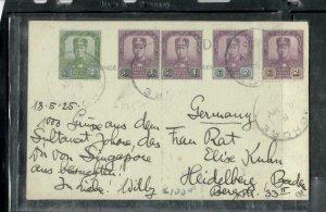 MALAYA  JOHORE COVER (P0307B) 1925 SULTAN 1CX2+2CX2, 2 DIFF+3C JB TO GERMANY