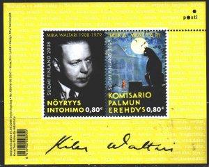 Finland. 2008. bl 50. Mika Valtari, writer, domestic cats. MNH.