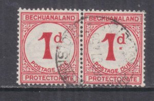 BECHUANALAND, POSTAGE DUE, 1932 ordinary paper, 1d. Carmine, pair, used.
