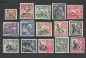 Malta Sc 208-2 1948 G VI long stamp set ovptd Self-Gov  mint