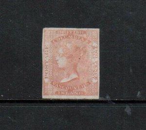 British Columbia #1 Very Fine Mint Full Original Gum LH **With Certificate**