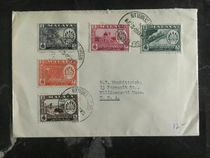 1960 Malaya Negri Sembilan Cover To Willimansett Ma Usa Complete Stamps Set