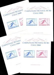 CHILE : 1966. Scott #C267a Skiing. 4 Souvenir Sheets. All VF, Mint NH. Cat $144.