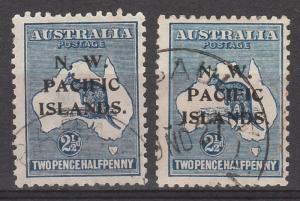 NWPI NEW GUINEA 1918 KANGAROO 21/2D BOTH SHADES USED 3RD WMK