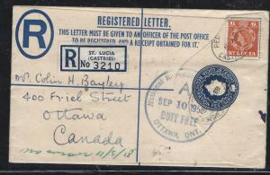 ST LUCIA  COVER (PP1709B)1958 8C QEII RLE UPRATED 6C TO CANADA