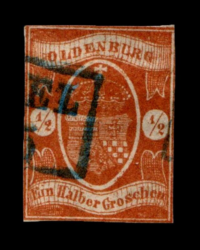 VINTAGE:GERMANY-OLDENBURG 1861 USD MHR  SCOTT #12 $525 LOT # 7544Y