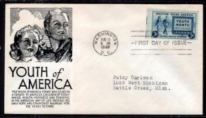 US 963 Youth C Anderson Black Typed FDC