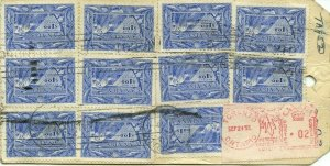 11 x $1.00 Fish stamps + 2c meter Registered bank tag 1951,  cover Canada