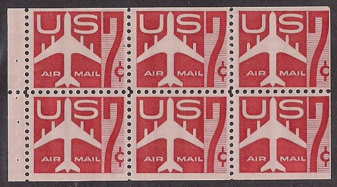 7c Red Airmail #C60a booklet pane of six Mint NH Fn -VF!
