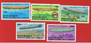Congo Peoples Republic  #408-412  VF used  Blimps  Free S/H
