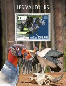 TOGO - 2019 - Birds : Vultures - Perf Souv Sheet - M N H