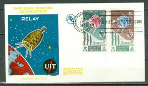 NEW HEBRIDES FRENCH...ITU  SATELLITE #124-125 on FDC