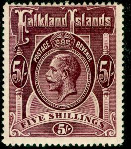 FALKLAND ISLANDS SG67b, 5s maroon, LH MINT. Cat £130.