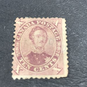 CANADA # 17--USED----SINGLE---RED LILAC-----1859
