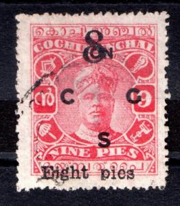 Indian States Cochin SG021 inverted d instead of Pin Pies WS1528