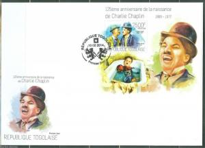 TOGO 2014 125th BIRTH  ANNIVERSARY OF  CHARLIE CHAPLIN S/S FIRST DAY COVER