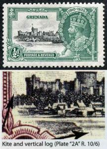 Grenada SG145k 1935 Silver Jubilee 1/2d with Kite and Vertical Log M/M