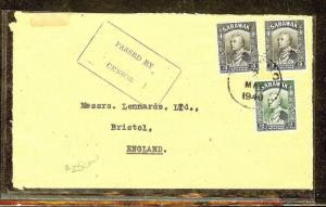 SARAWAK (P1106B) 1940 CENSOR 8C RATE  TO ENGLAND