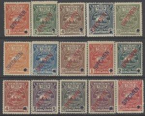 COSTA RICA TIMBRE REVENUE,COAT of ARMS OVERPRINTED SPECIMEN w/HOLE MNH 1913