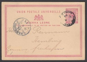 SIERRA LEONE 1903 QV 1d postcard used to Germany - commercial...............T368