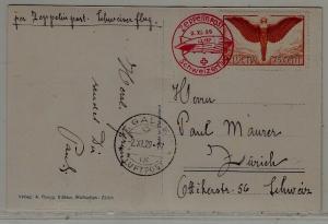 Switzerland Zeppelin card folded 2.11.29 St.Gallen