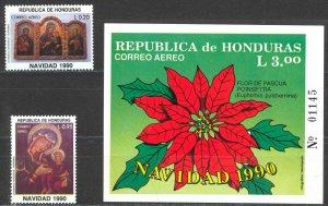 Honduras Sc# C802-C804 MNH 1990 Christmas