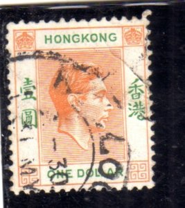 HONG KONG 1937 1948 KING GEORGE VI RE GIORGIO ONE DOLLAR 1$ USATO USED OBLITERE'