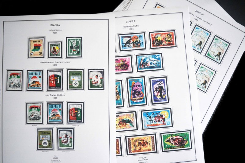 COLOR PRINTED BIAFRA 1968-1970  STAMP ALBUM PAGES (15 illustrated pages)