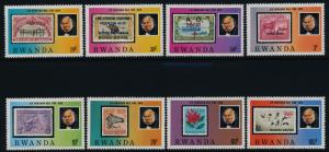 Rwanda 935-42 MNH Rowland Hill, Stamp on Stamp, Animals, Ships, Sports, Flower