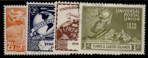 TURKS & CAICOS ISLANDS GVI SG217-220, anniversary of UPU set, FINE USED.