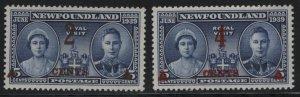 NEWFOUNDLAND, 250-251, SET, MNH, 1939, GEORGE VI & QUEEN ELIZABETH