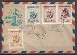 Hungary, Scott cat. 1140, C168-169a. Composer Bartok w/ticket. First day cover.^
