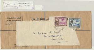 GAMBIA TO USA 1945 OHMS COVER+LABEL 2½d RATED  (SEE BELOW