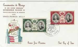 Monaco 1956 Commemorating Marriage F.D.C. Multiple Stamps Cover ref R 18027