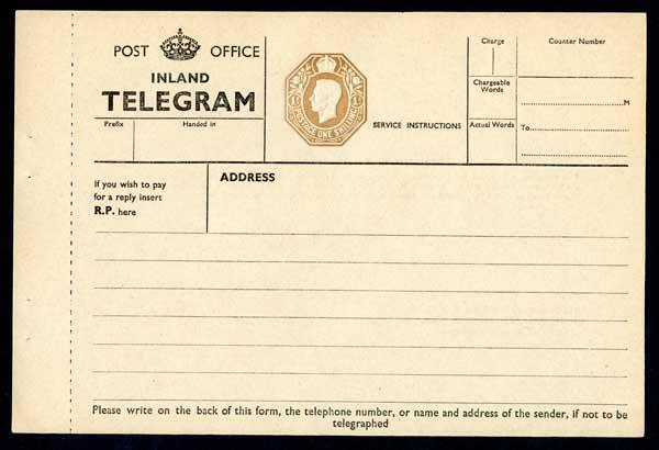 TP28 KGVI 1/- Post Office Telegram Form / HipStamp