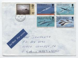 1995 South Georgia to USA cover with 4 whales and dolphins, etc. [L.371]
