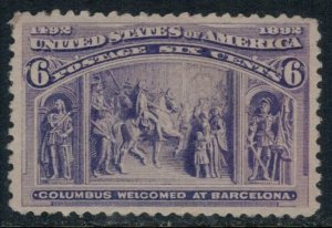 U.S. #235* NH  CV $160.00