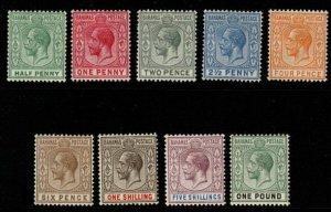 BAHAMAS SG81/9 1912-6 WMK MULT CROWN CA DEFINITIVE SET MTD MINT