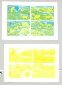 South Ossetia (Georgia) 1997 Animals 16v in 1v M/S of 16 x 4v Progressive Proofs