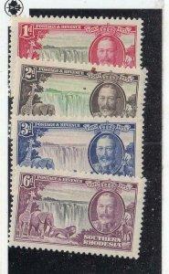 S. RHODESIA ++(MK6288,A) # 333-336 VF-MH VARd KGV SILVER JUBILEE & PLANES CV $31