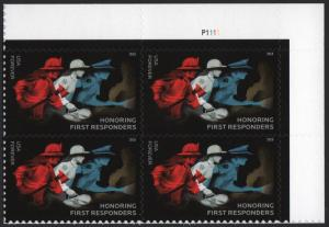 SC#5316 (50¢) First Responders Plate Block: UR #P1111 (2018) SA