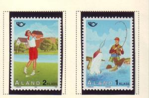 Aland Sc  116-7 1995 Golf Fishing stamp set mint NH