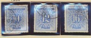 Hungary Stamps Scott #J134 To J136, Used, Short Set