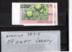 Anguilla 1980 Sc 387-8 MNH Commemorative Perforate Overprint Shift Variety