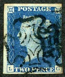 1840 2d Bright Blue (LG) Plate 1 three margins