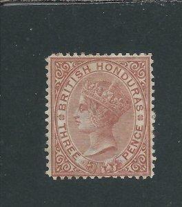 BRITISH HONDURAS 1872-79 3d CHESTNUT MM SG 13 CAT £170