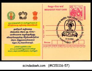 INDIA - 2003 Meghdoot POSTCARD with INDIAN RAILWAYS APPEX 2003 HYDERABAD CANCL.