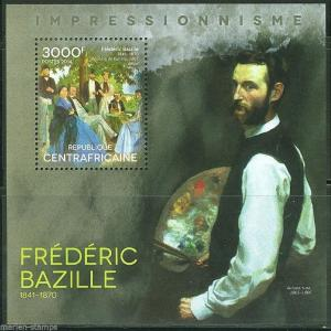 CENTRAL AFRICA  IMPRESSIONISM FREDERIC BAZILLE PAINTINGS  S/S  MINT NH