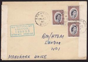 GRENADA 1957 ship cover S.S. NATURALIST....................................68804