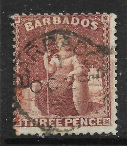 BARBADOS SG63 1873 3d BROWN-PURPLE USED